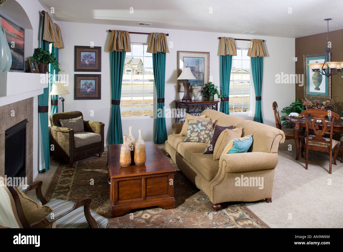 Denver Colorado Real Estate Single Family Home Middle Class Interior Living Room Dining Table And Chairs Nobody