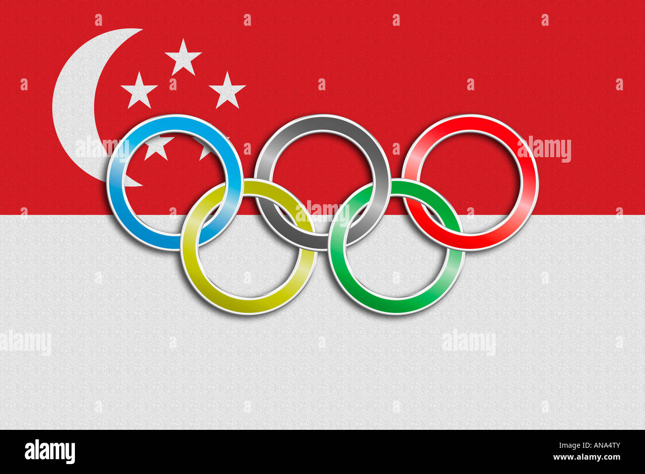 Flag of Singapore with olympic symbol Stock Photo, Royalty Free ...
