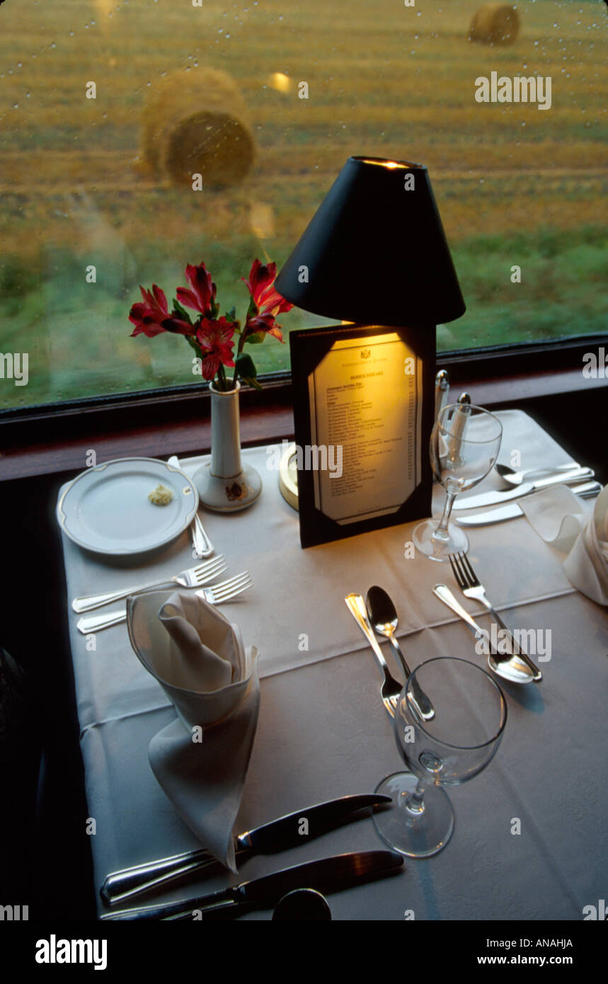 American table setting - Canada Manitoba American Orient Express Dining Car Train Railroad Table Setting Lamp Menu Scenery