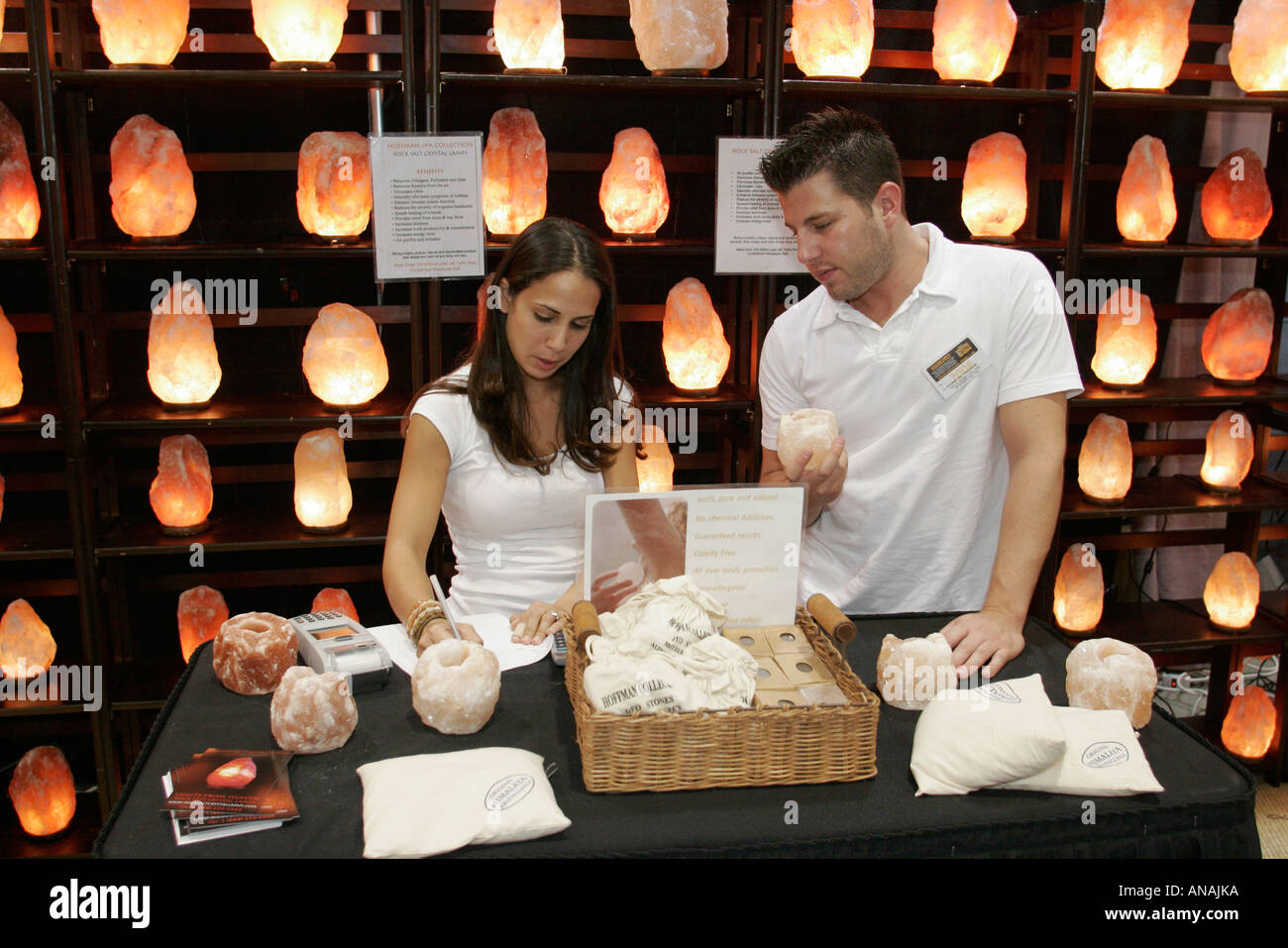 Miami Beach Florida Convention Center Home Design And Remodeling Show Rock  Salt Crystal Lamps Hispanic Couple