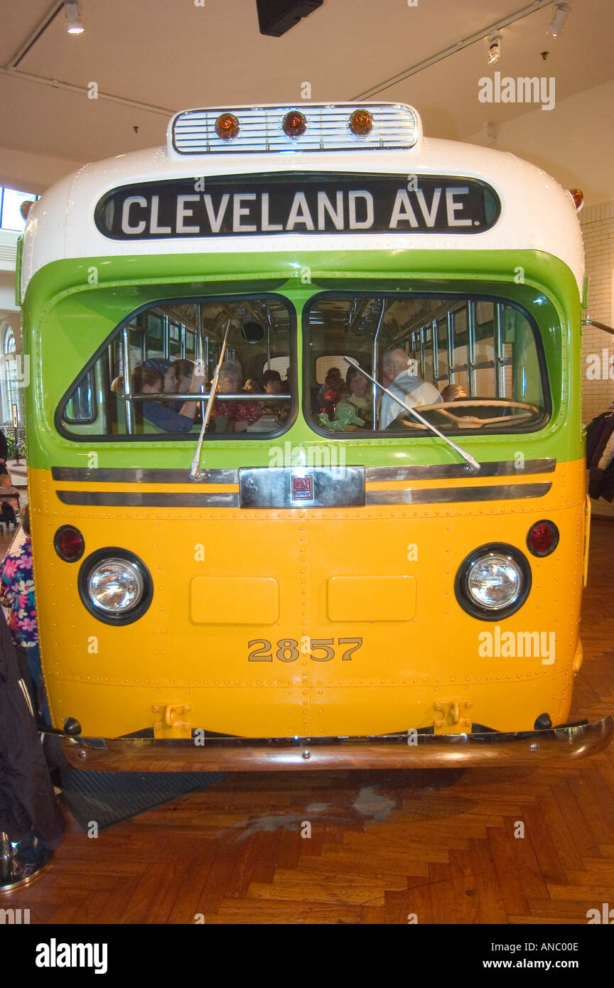 Rosa parks historic montgomery alabama public bus at the henry ford museum at greenfield village dearborn michigan
