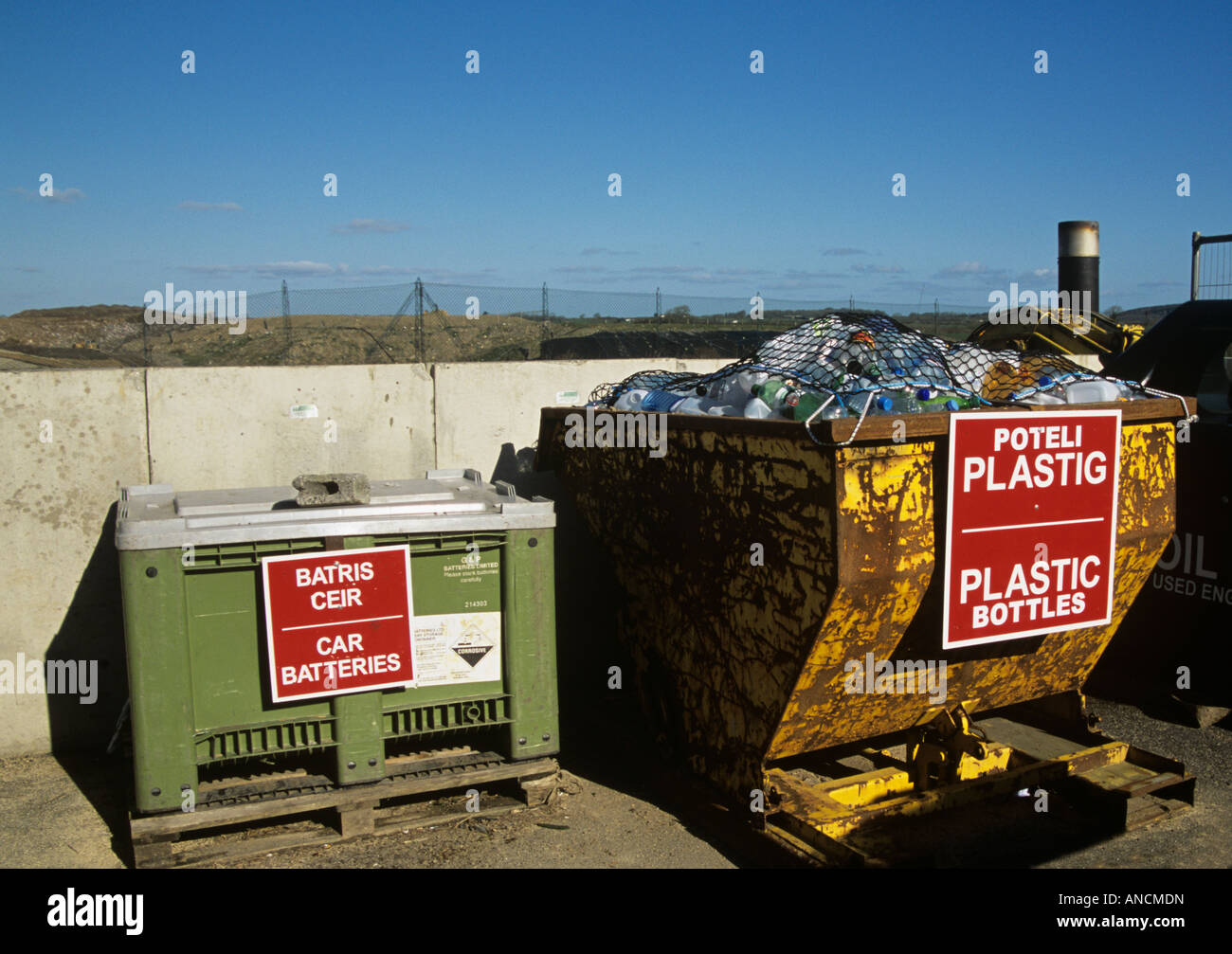 North Wales UK A green skip for safe disposal of unwanted car ...