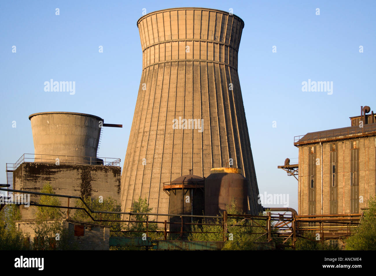 Industrial Cooling Towers : Industrial cooling tower chimney and buildings in