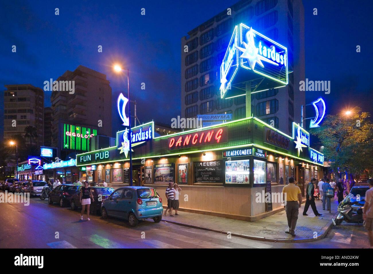 pub on calle gerona at night resort centre benidorm