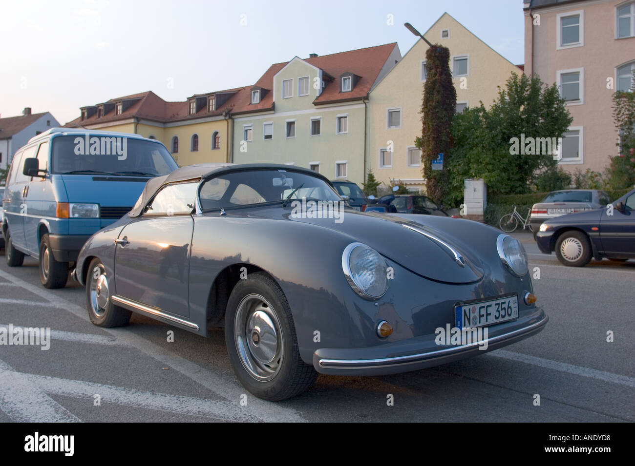 a porsche 356 speedster sports car parked in the ancient city of stock photo royalty free image. Black Bedroom Furniture Sets. Home Design Ideas
