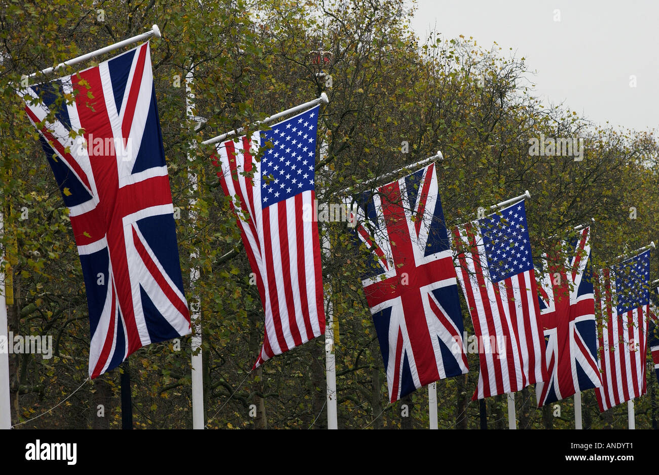 british and american flags in the mall for a state visit london