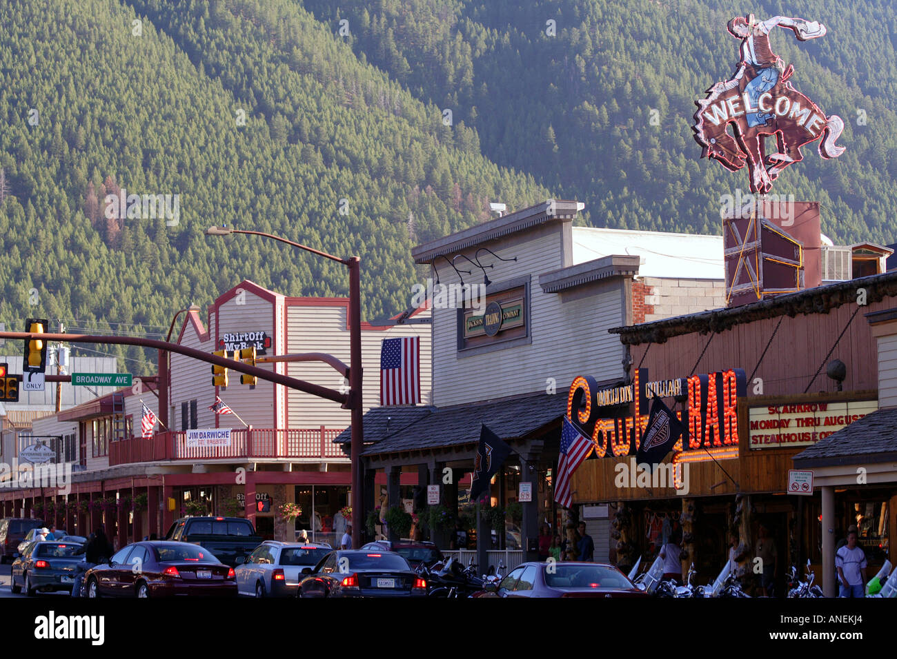 Downtown jackson hole wyoming stock photo 8859747 alamy for What to do in jackson wy