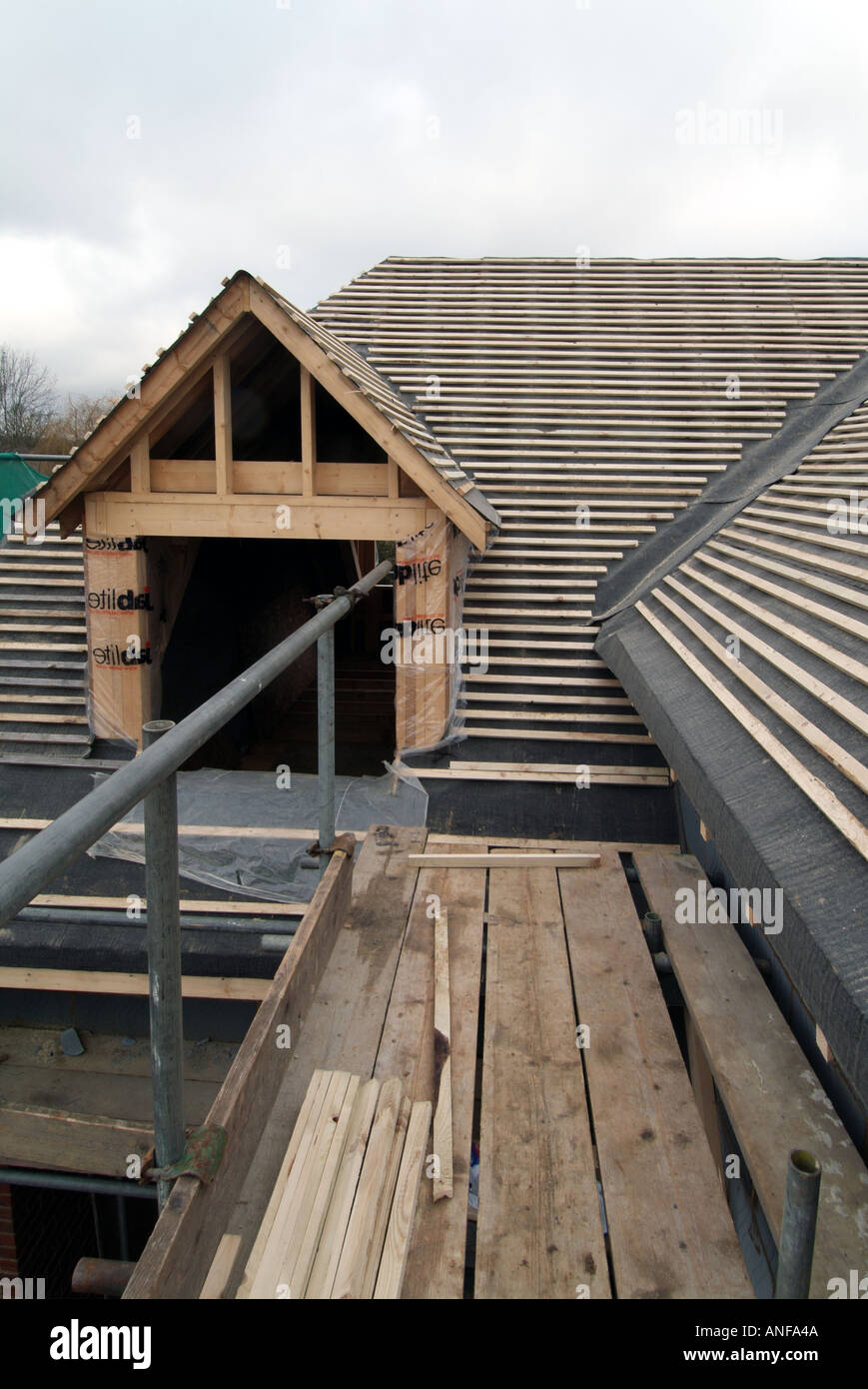 Detached House Under Construction Roof Works Including