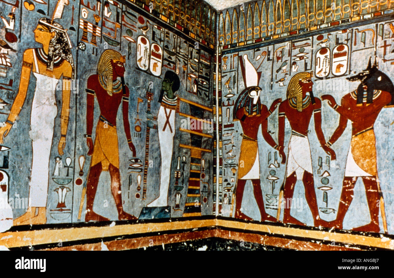 Luxor egypt paintings tomb of ramses i stock photo for Ancient egyptian mural paintings