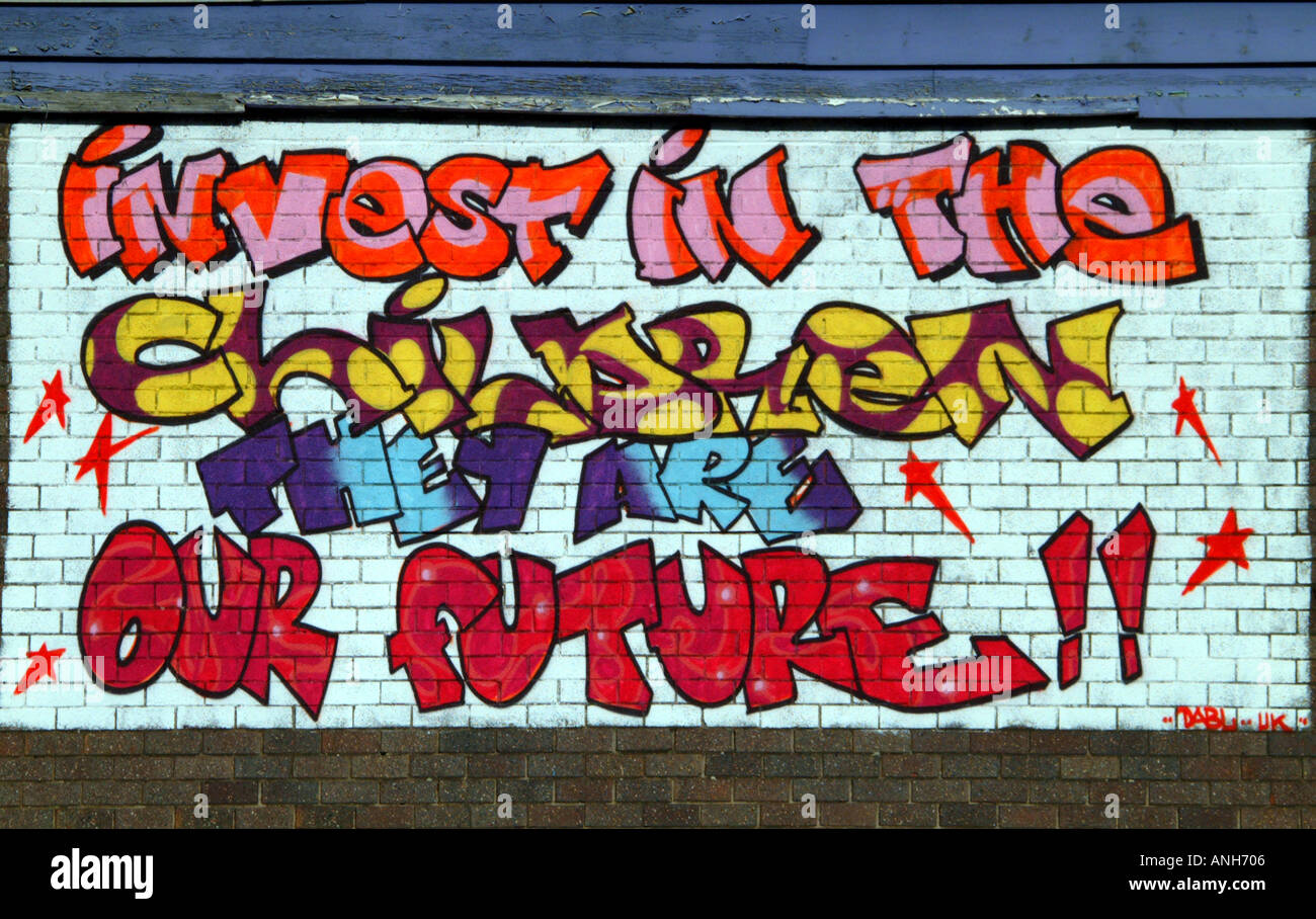 Graffiti wall art uk - Graffiti Wall Art Invest In The Children They Are Our Future Hulme Manchester North West Uk Europe