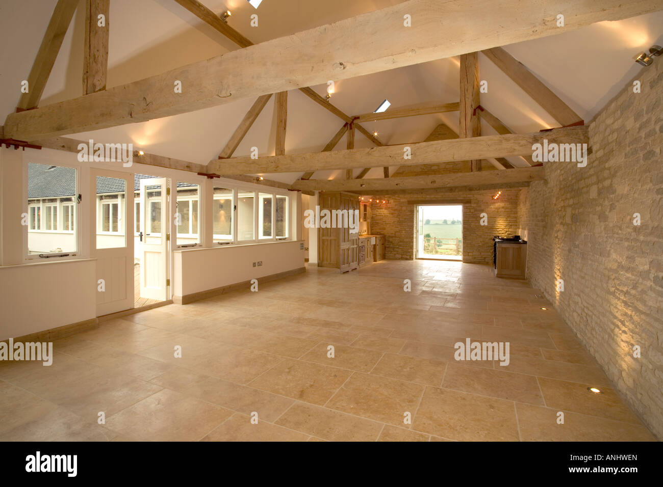 New Property Interior Large Wood Beamed Barn Conversion