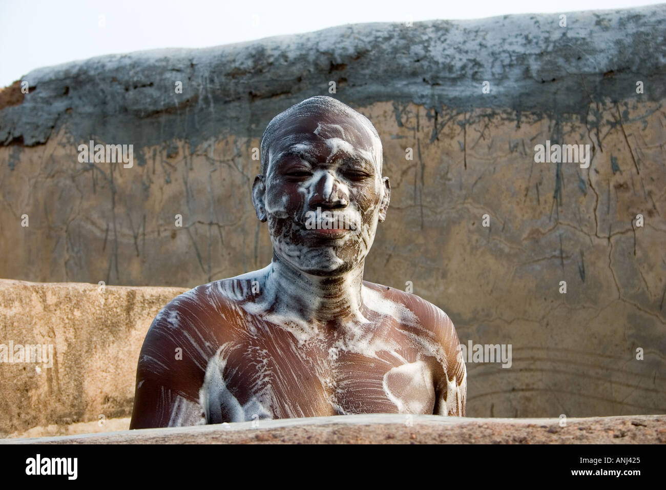 Awesome Ghanaian Man Well Soaped In A Mud Wall Shower Wechiau Hippo Sanctuary In  North Western Ghana