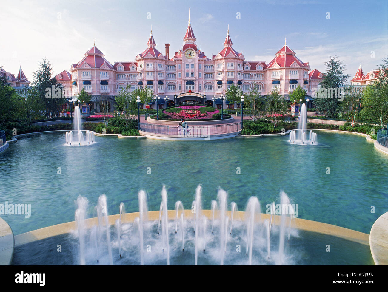 Eurodisney Hotel And Fountains At Euro Disney Resort Near