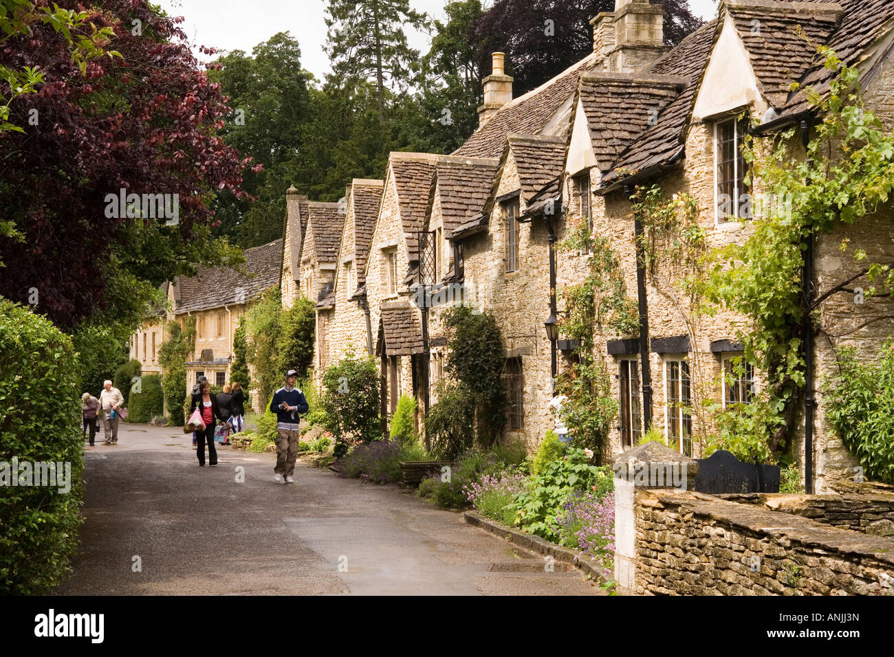 Uk Wiltshire Castle Combe Old Cottages Part Of Manor House Hotel Stock Photo Royalty Free Image