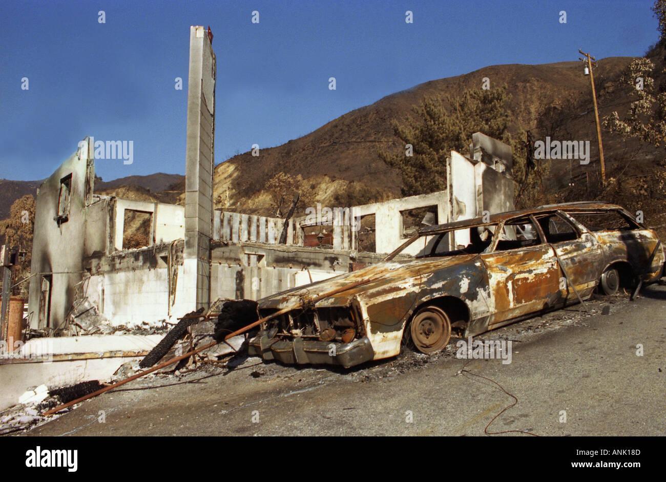 Fire Forest Fires Malibu Burnt Out Car Jaguar 1993 Califorian Hollywood  Hills Los Angeles L A La Disaster Fire Smoke Flames
