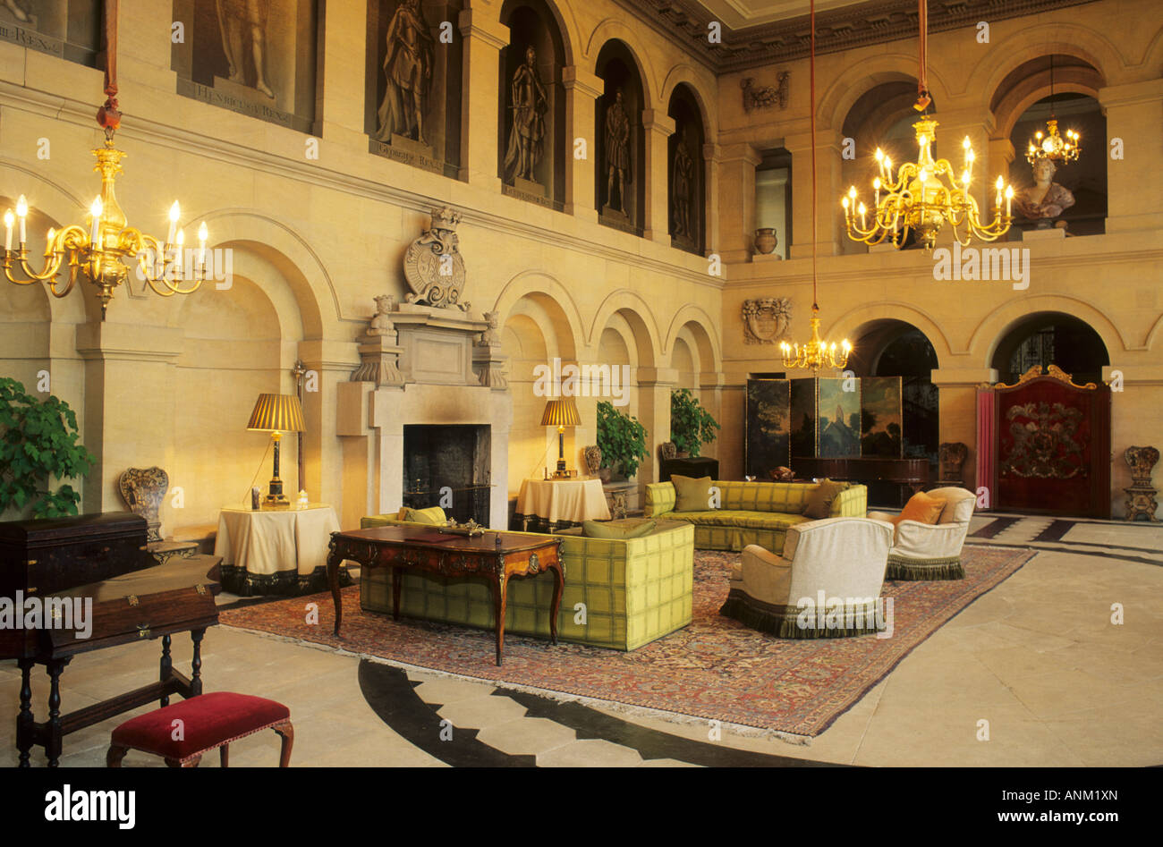 Stately Home Interiors. Grimsthorpe Castle Lincolnshire interior England UK English stately home  grand opulent travel tourism architecture Stately Home Interior Stock Photos