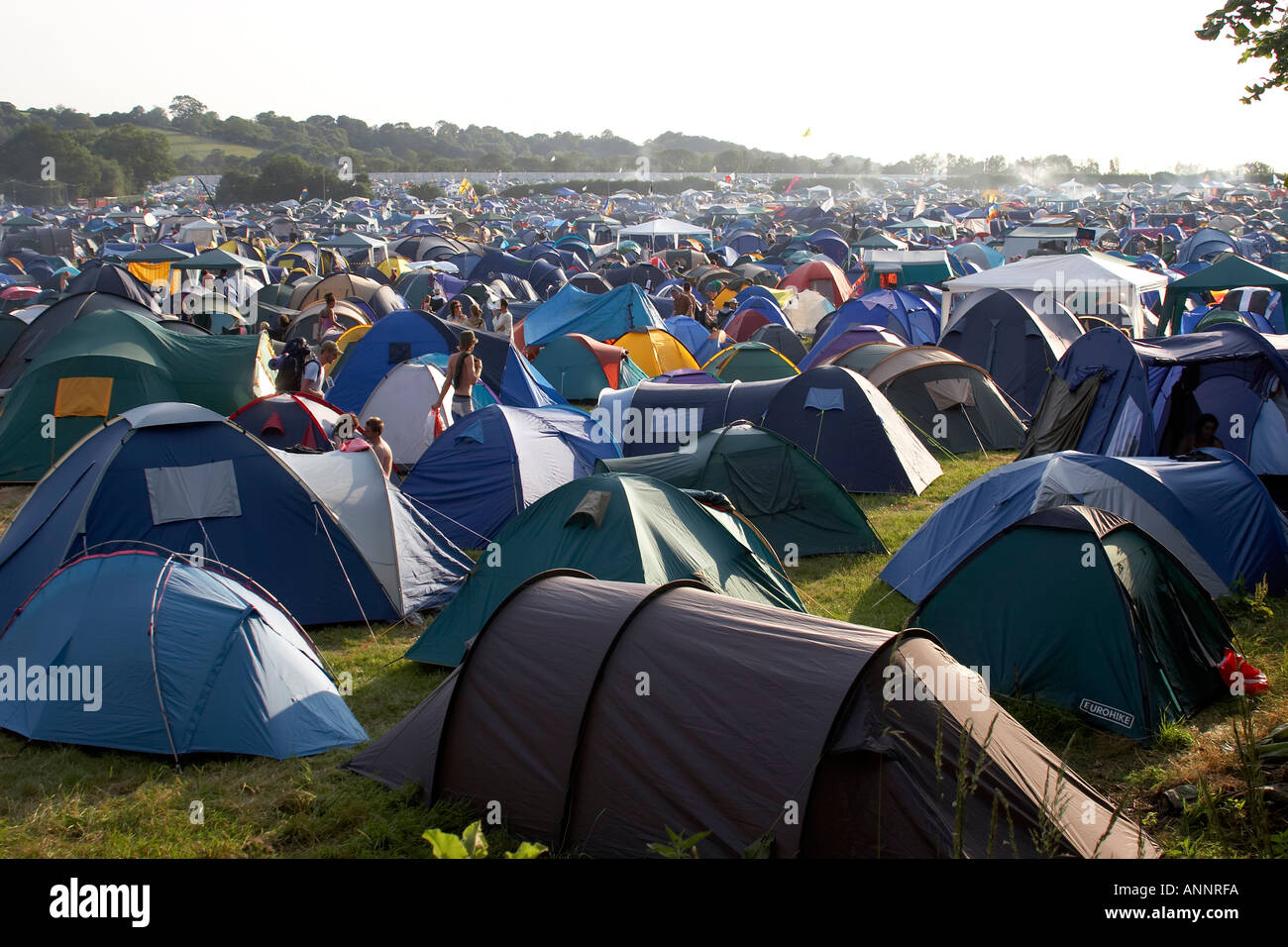 C&ing field tents before the flood at Glastonbury Festival of Contemporary Performing Arts Somerset England UK 2005 & Camping field tents before the flood at Glastonbury Festival of ...