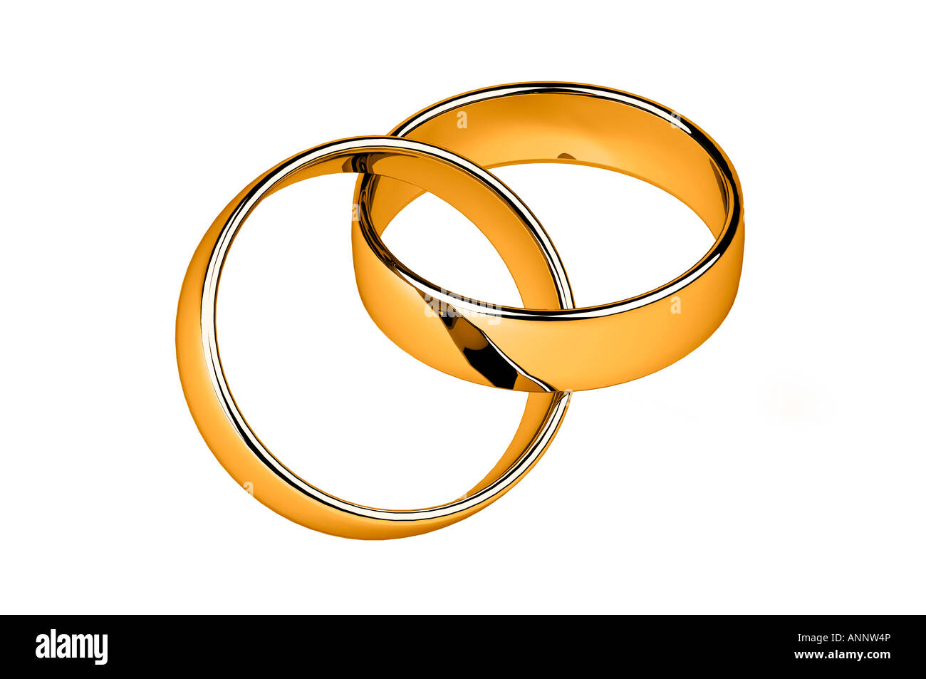 Interlocked gold wedding rings Stock Photo Royalty Free Image