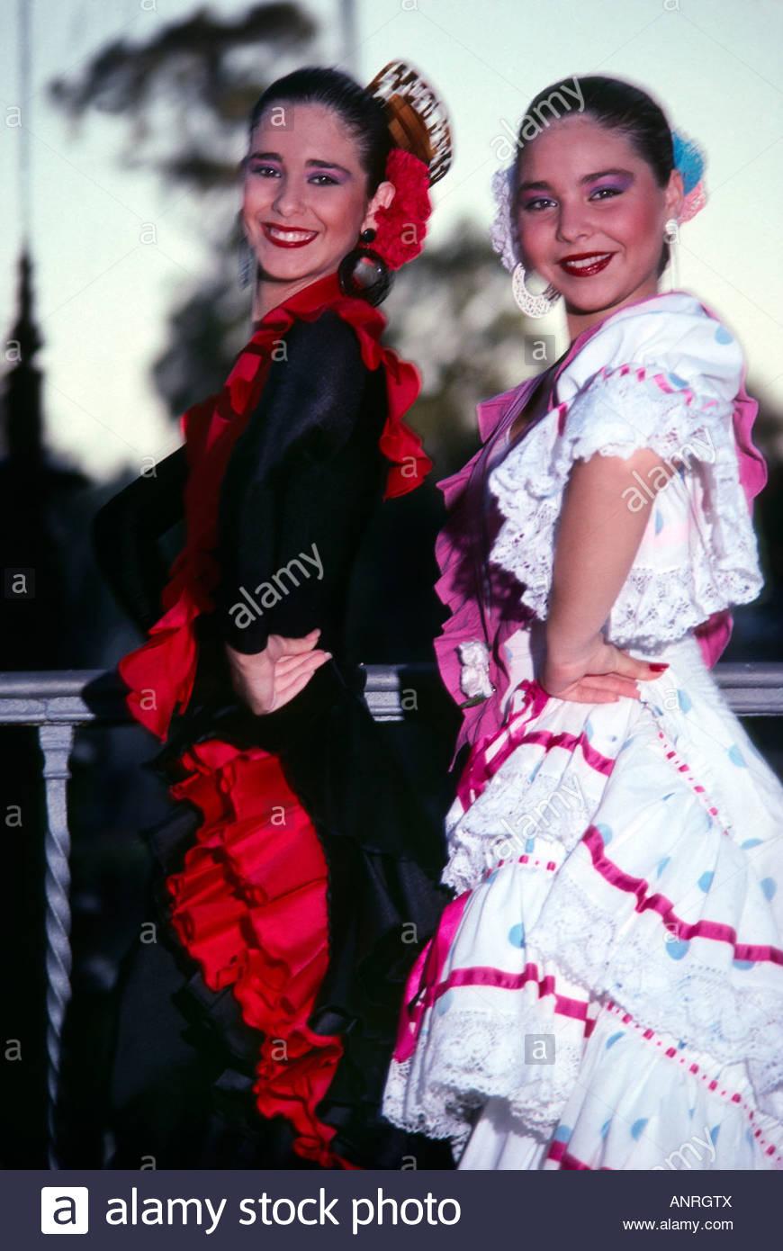 flamenco dancers park of maria luisa sevilla seville spain stock
