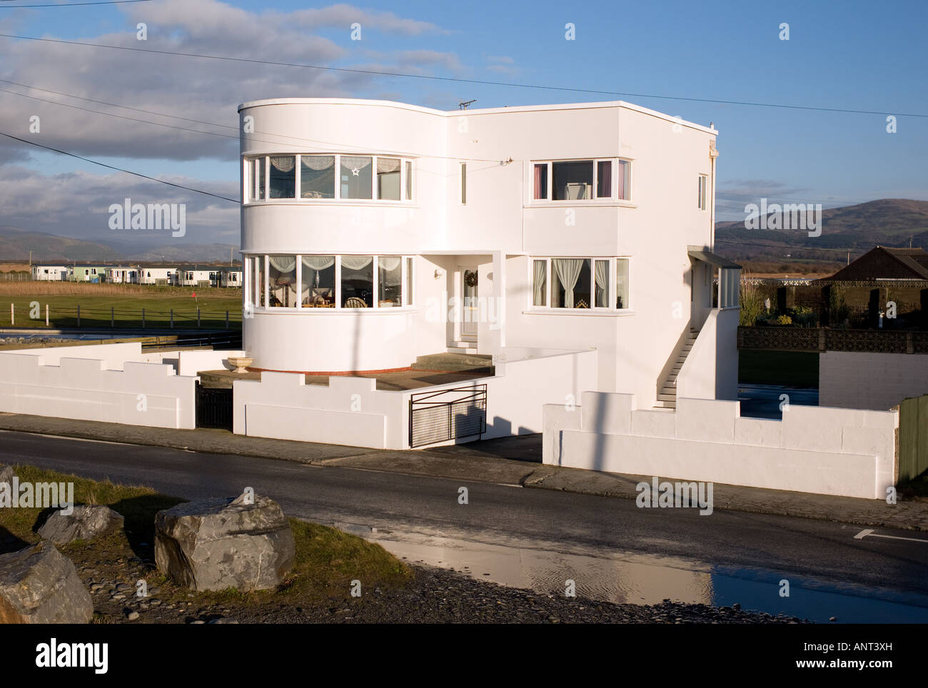 1930u0027s Seaside Modern Architecture Style White House Building In Borth, On  The West Coast Of Wales UK