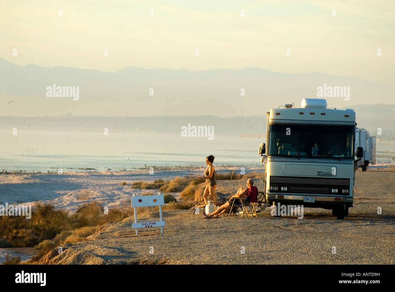 Campers In An Rv On The Shore Of The Salton Sea California Stock Photo Royalty Free Image