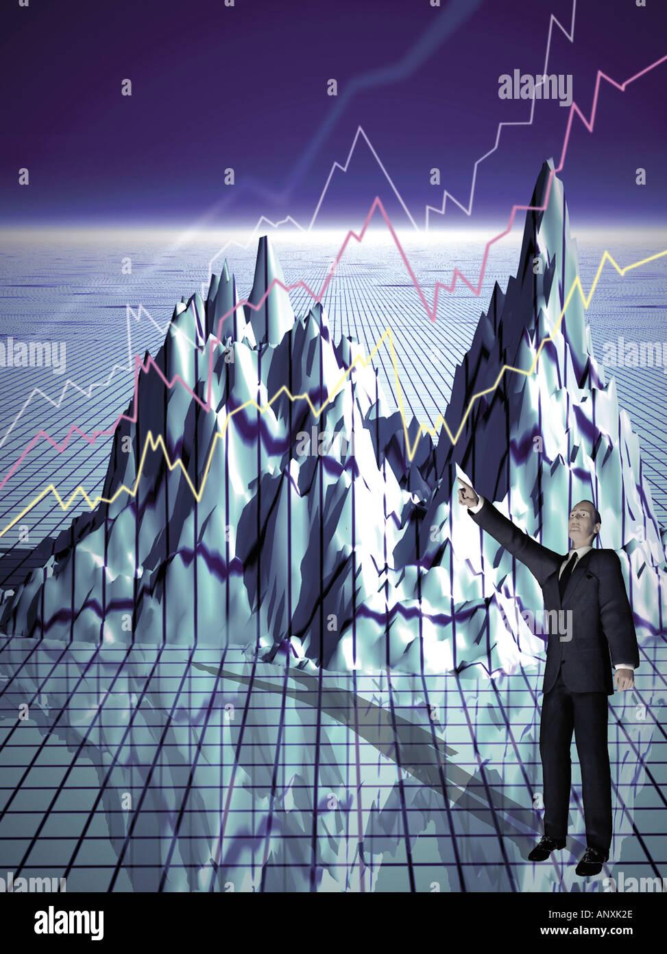 graphic photo illustration showing mountain range and man ...