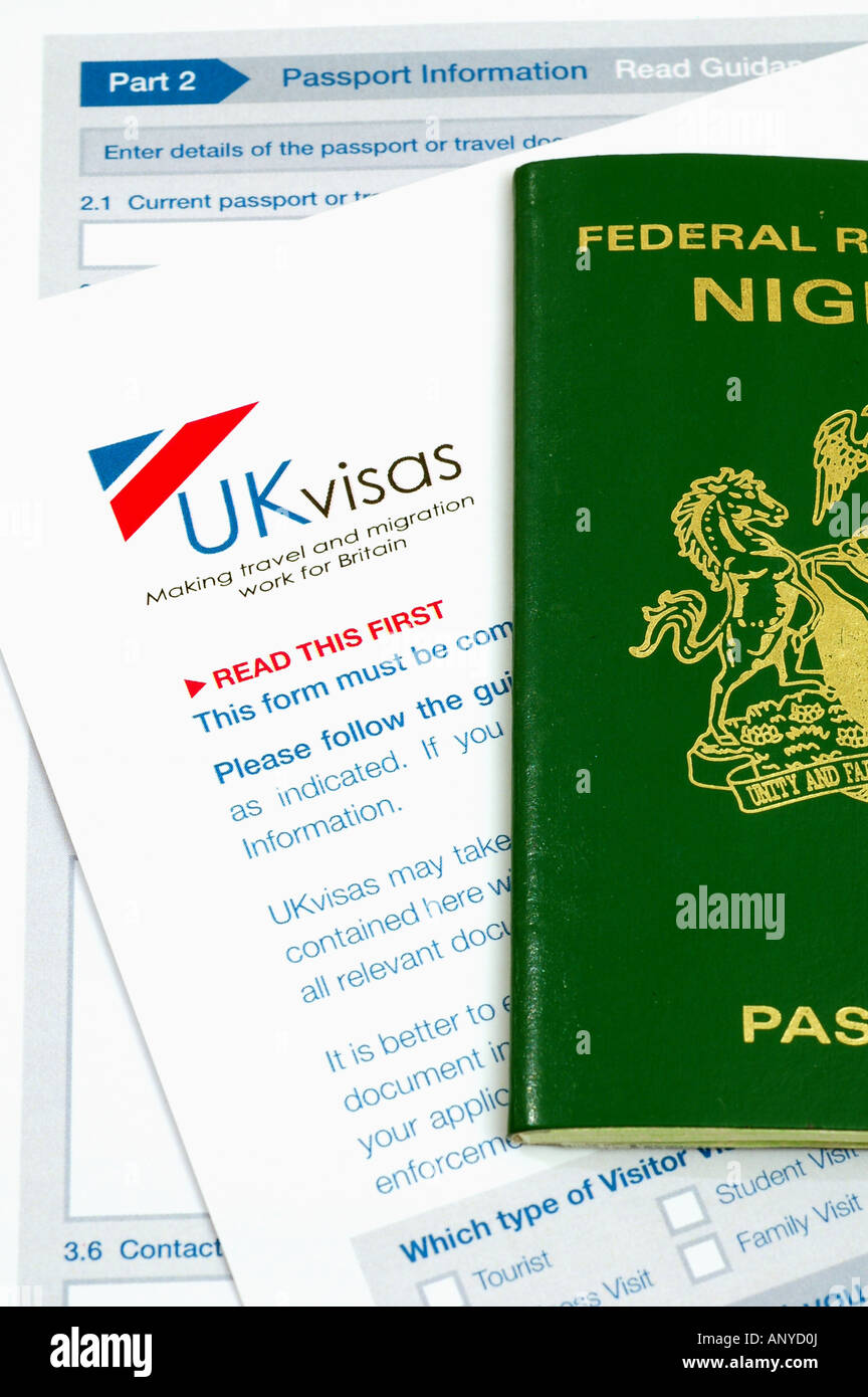 Uk visa application form and nigerian passport stock photo uk visa application form and nigerian passport falaconquin
