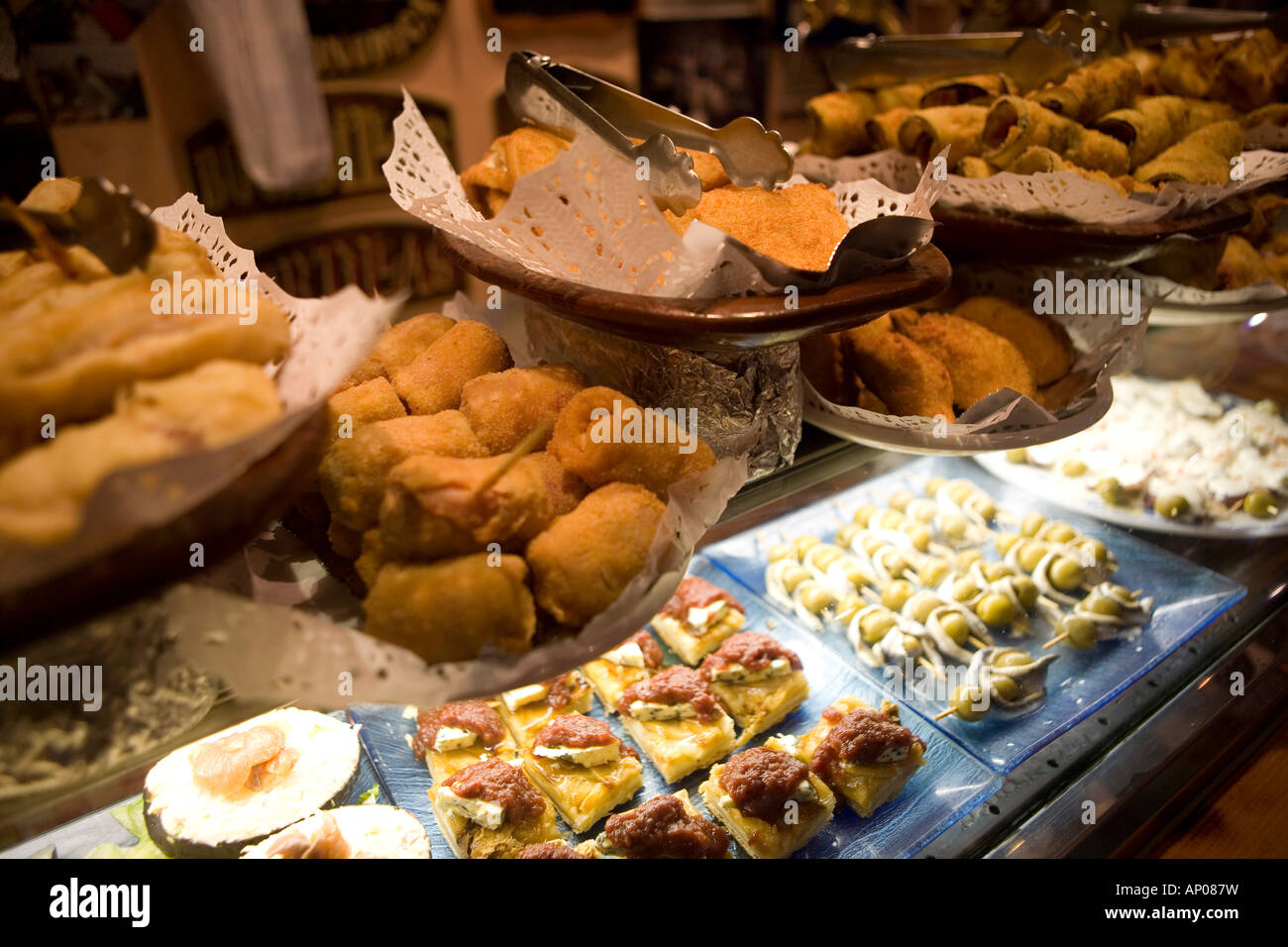 Tipical spanish food at a tapas bar in zaragoza aragon spain stock photo royalty free image for Cuisine bar tapas