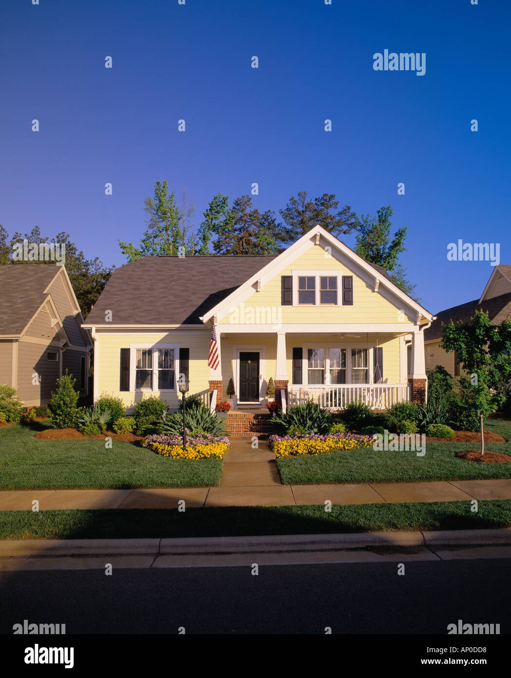 Small Two Story House Design: Small Two Story Yellow House With Black Shutters A Porch