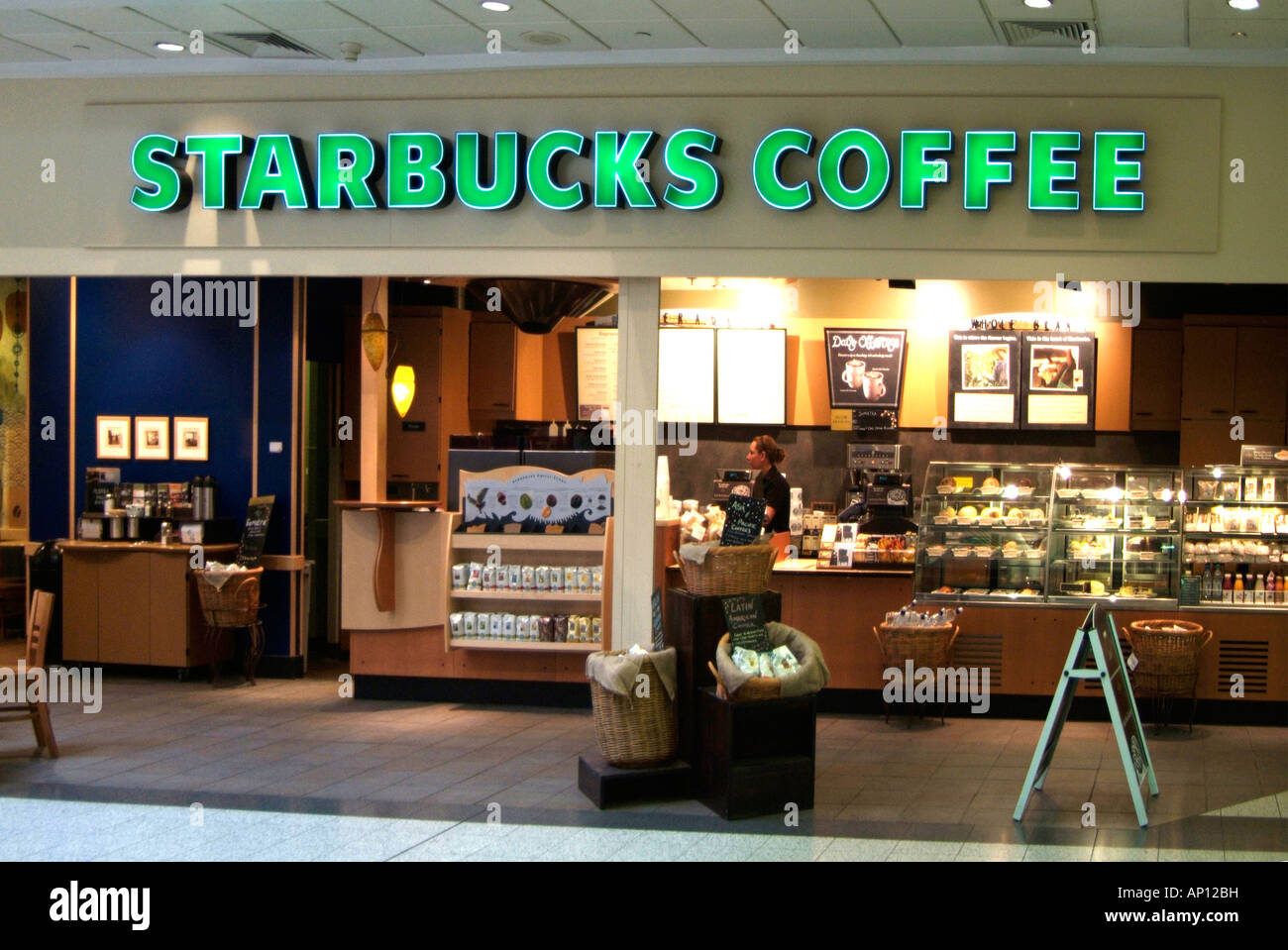 starbucks coffee caf fast food outlet table chair self service rest stock photo royalty free. Black Bedroom Furniture Sets. Home Design Ideas