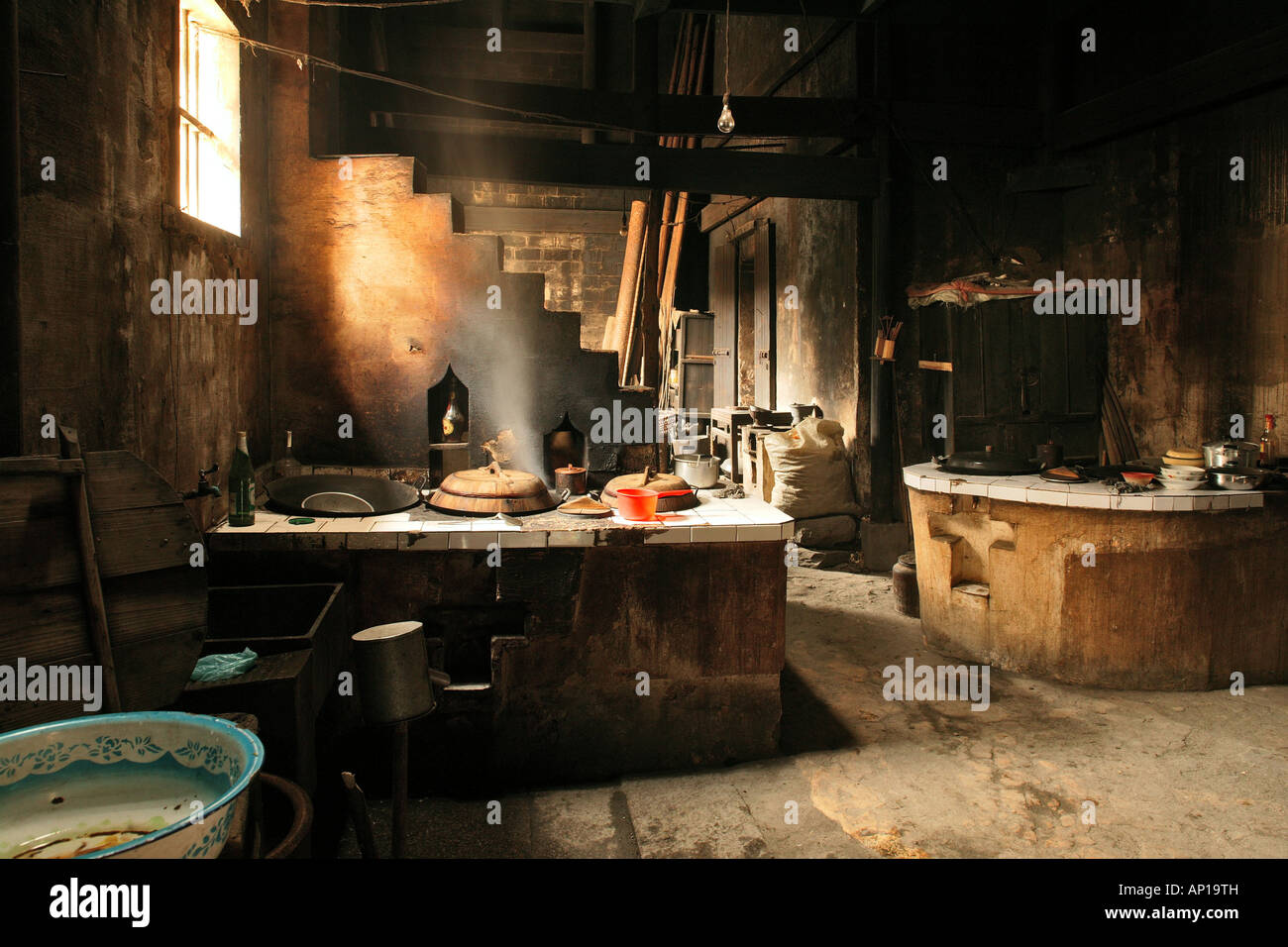 Interior view of a traditional kitchen in an old timber for Traditional korean kitchen