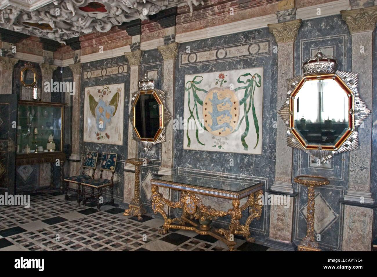 Wall Of Marble Room Rosenborg Castle Copenhagen Denmark