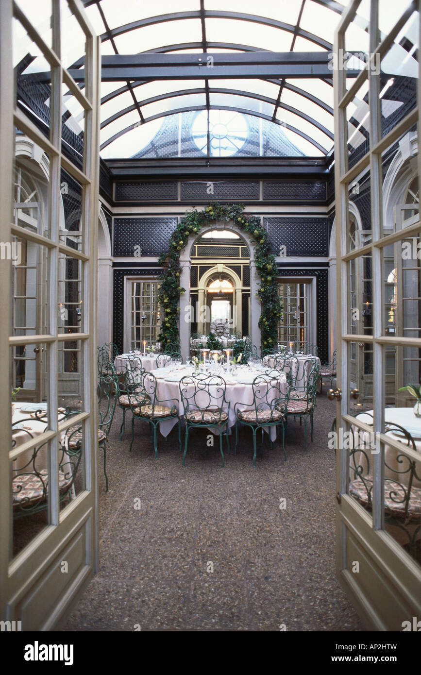 Inside Restaurant L Orangerie With Glass Roof Los Angeles