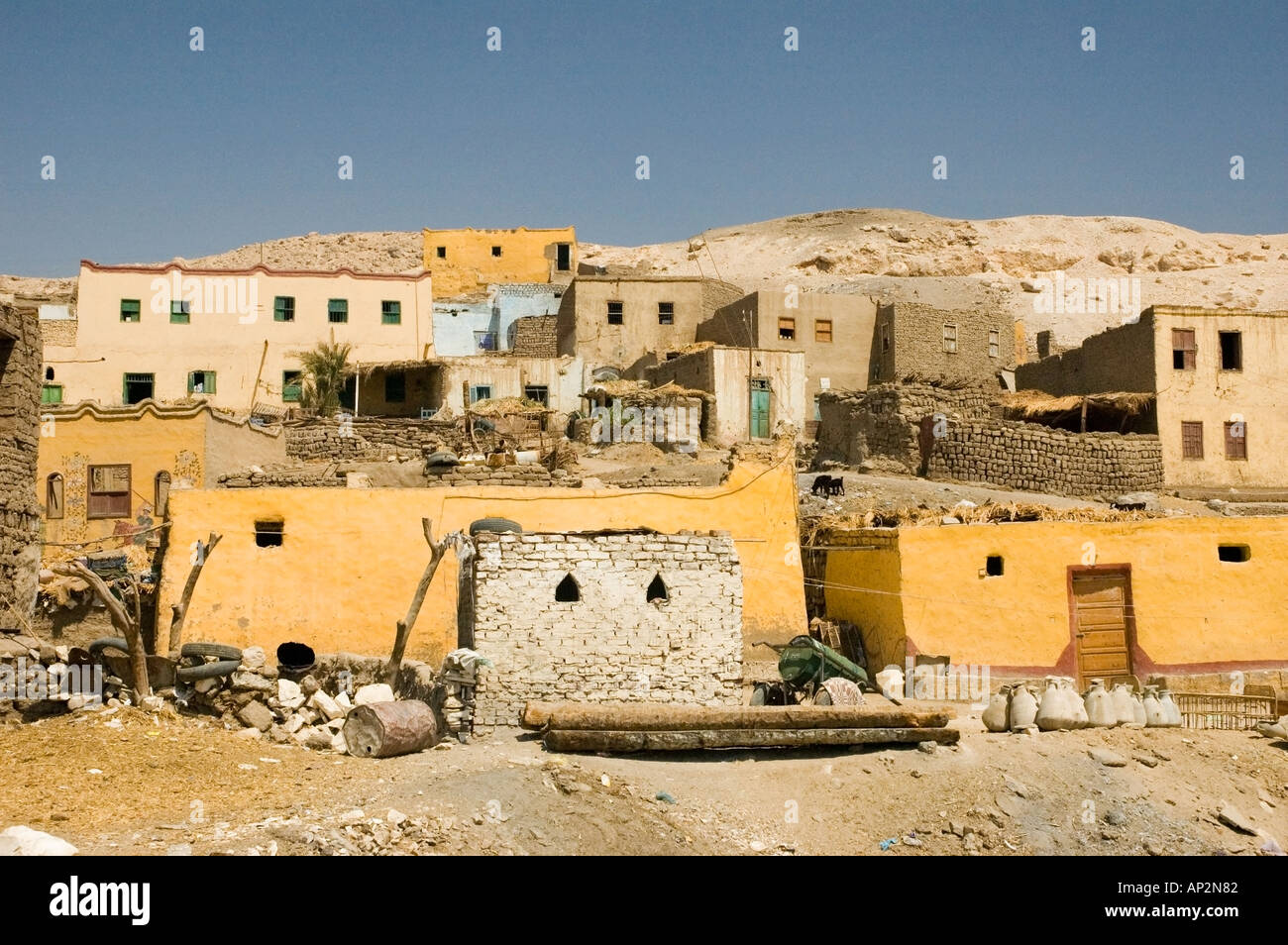 Brightly painted houses in Gurna Village, West Bank, Luxor ...  Brightly painte...