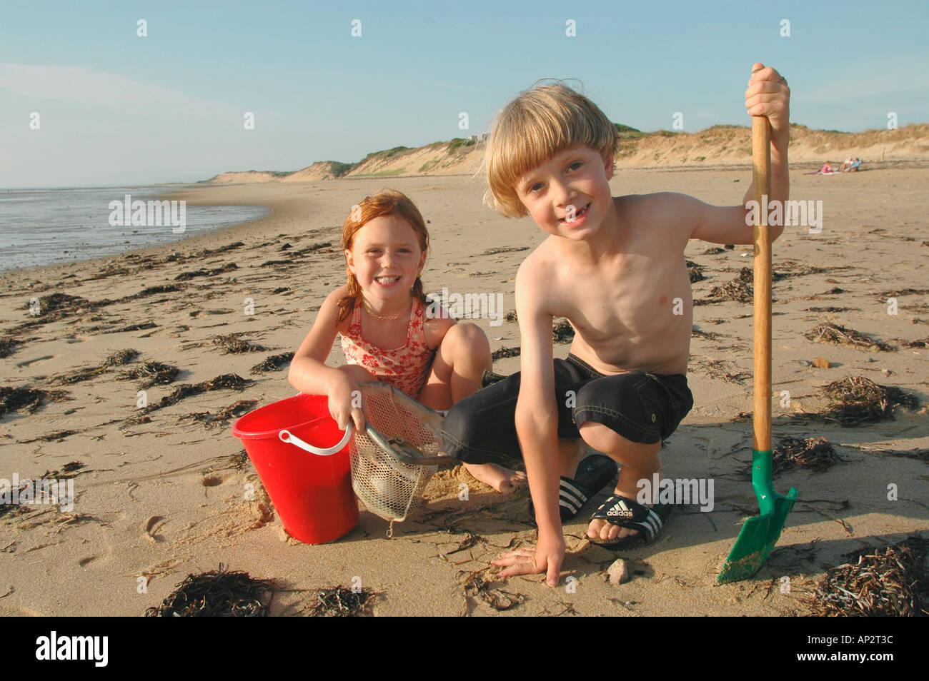 Marvelous Cape Cod Kids Part - 9: Kids Playing On New England Cape Cod Beach Wellfleet, MA, Massachusetts, USA