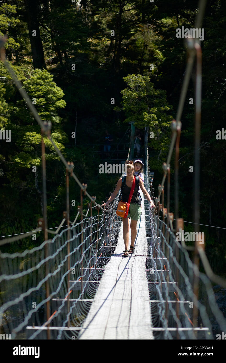 mother with child on hanging bridge, track to blue pools, east of