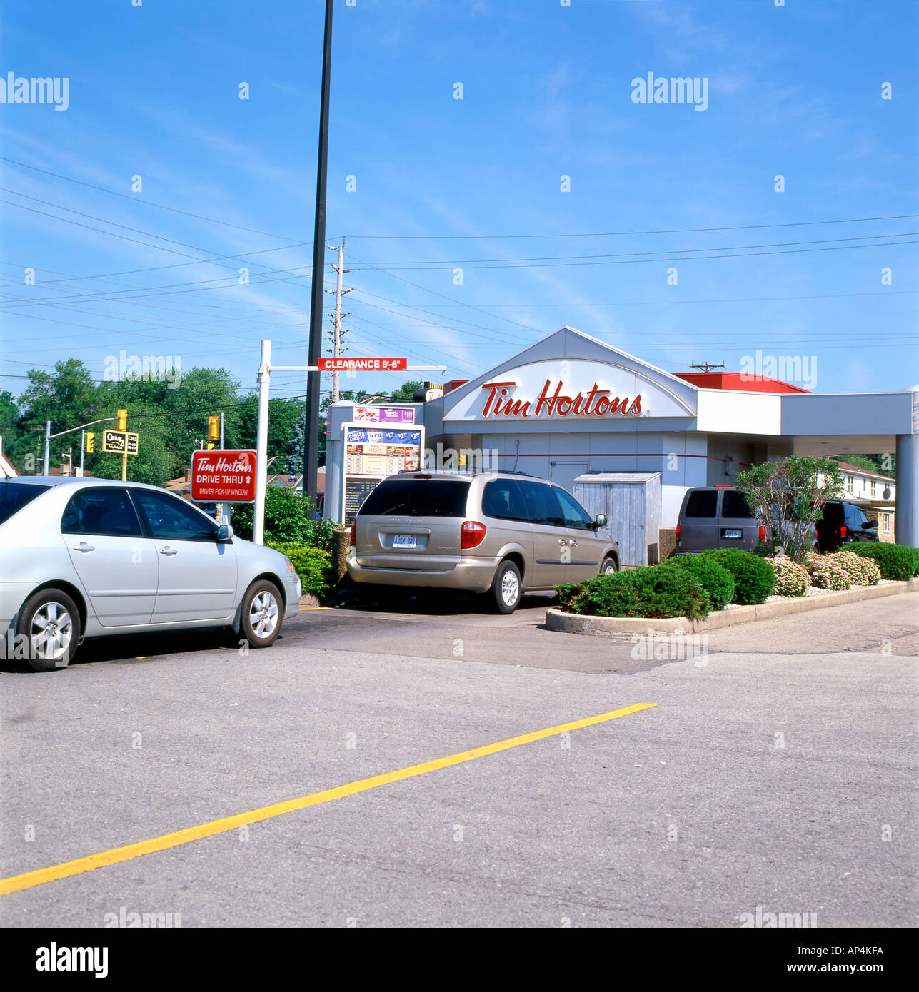 Cars Lining Up To Buy Coffee Doughnuts And Fast Food At Tim - Buy car in canada