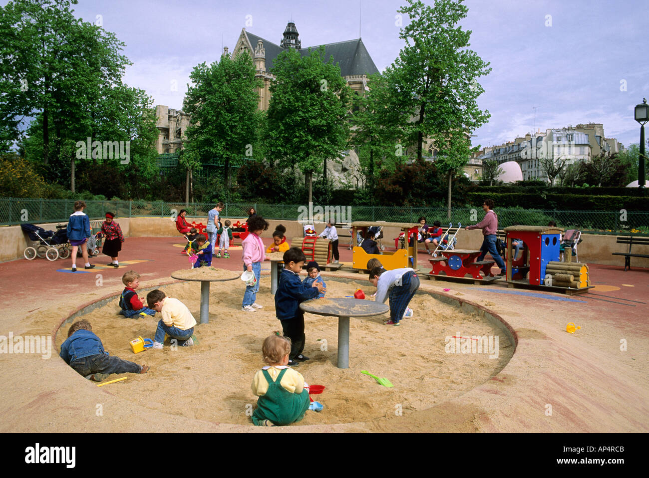 Children at a playground in Paris France Stock Photo ...