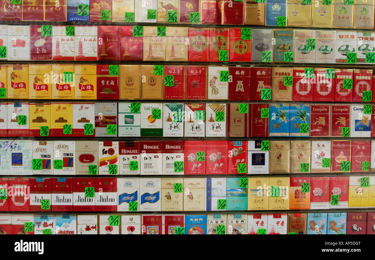 Many brands of chinese cigarettes for sale in shop window for Window brands