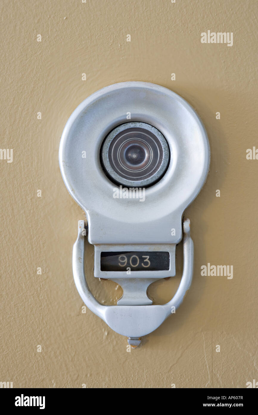 Stock Photo   US Door Knocker With Viewer And Apartment Unit Number