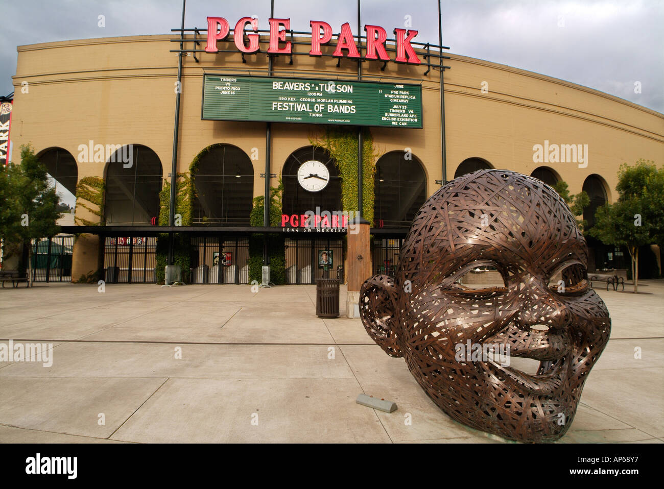 USA Oregon Portland Smiling Bronze Face In Front Of PGE Park