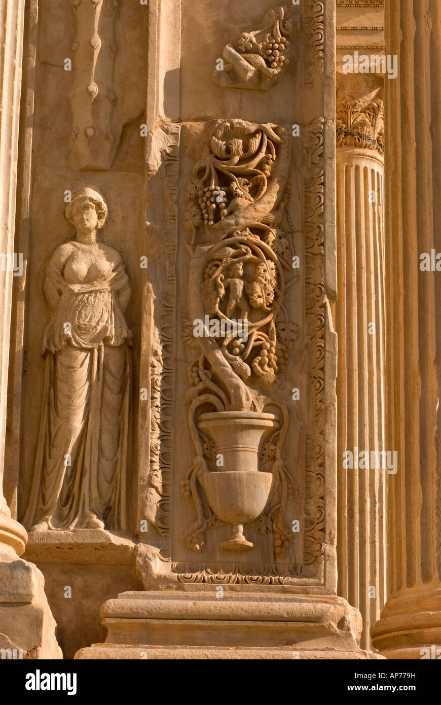 Detail of carvings on Arch of Septimius Severus Leptis ...