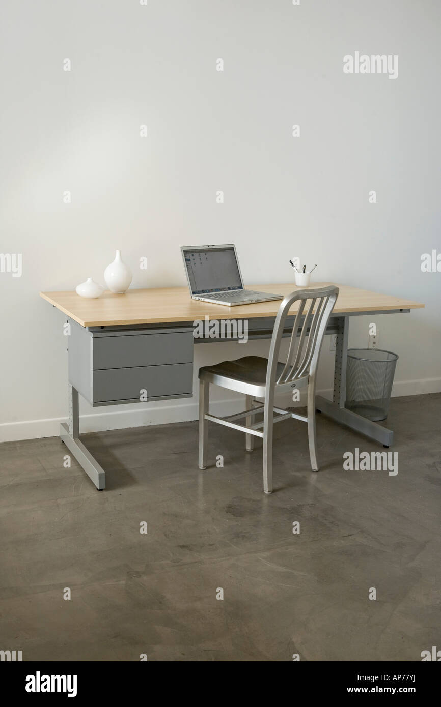 Laptop Chair Desk Simple Empty Office One Modern Desk Laptop Computer Chair Stock