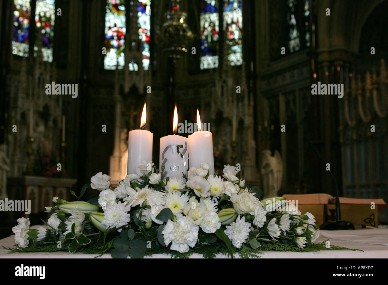 Cathedral Wedding Lots of Candles