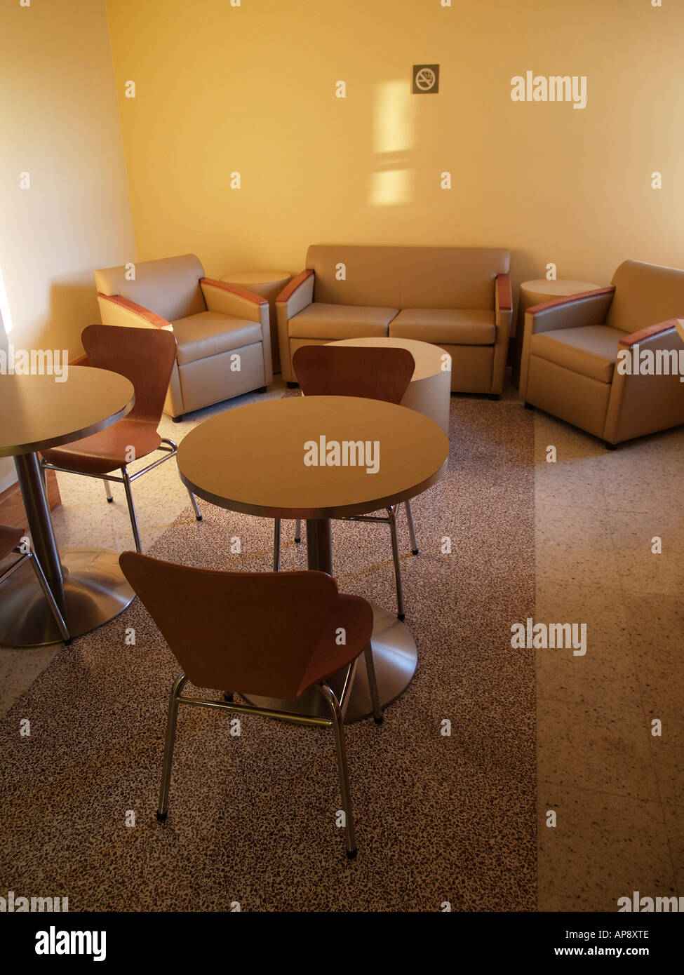 Interior Of A Lounge Or Waiting Room With Stuffed Chairs And Tables,  Naturally Lit