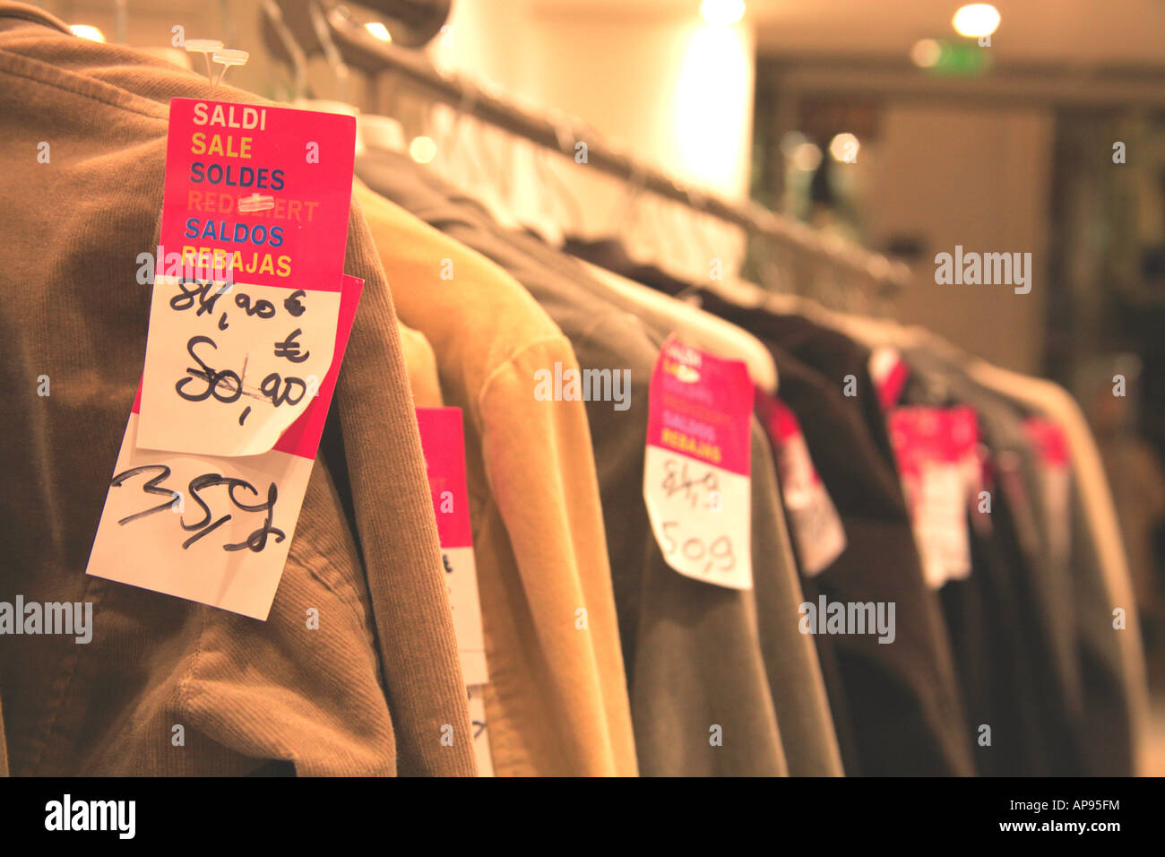 Store Tags: Clothes Sale Shop Euro Price Tags Stock Photo, Royalty