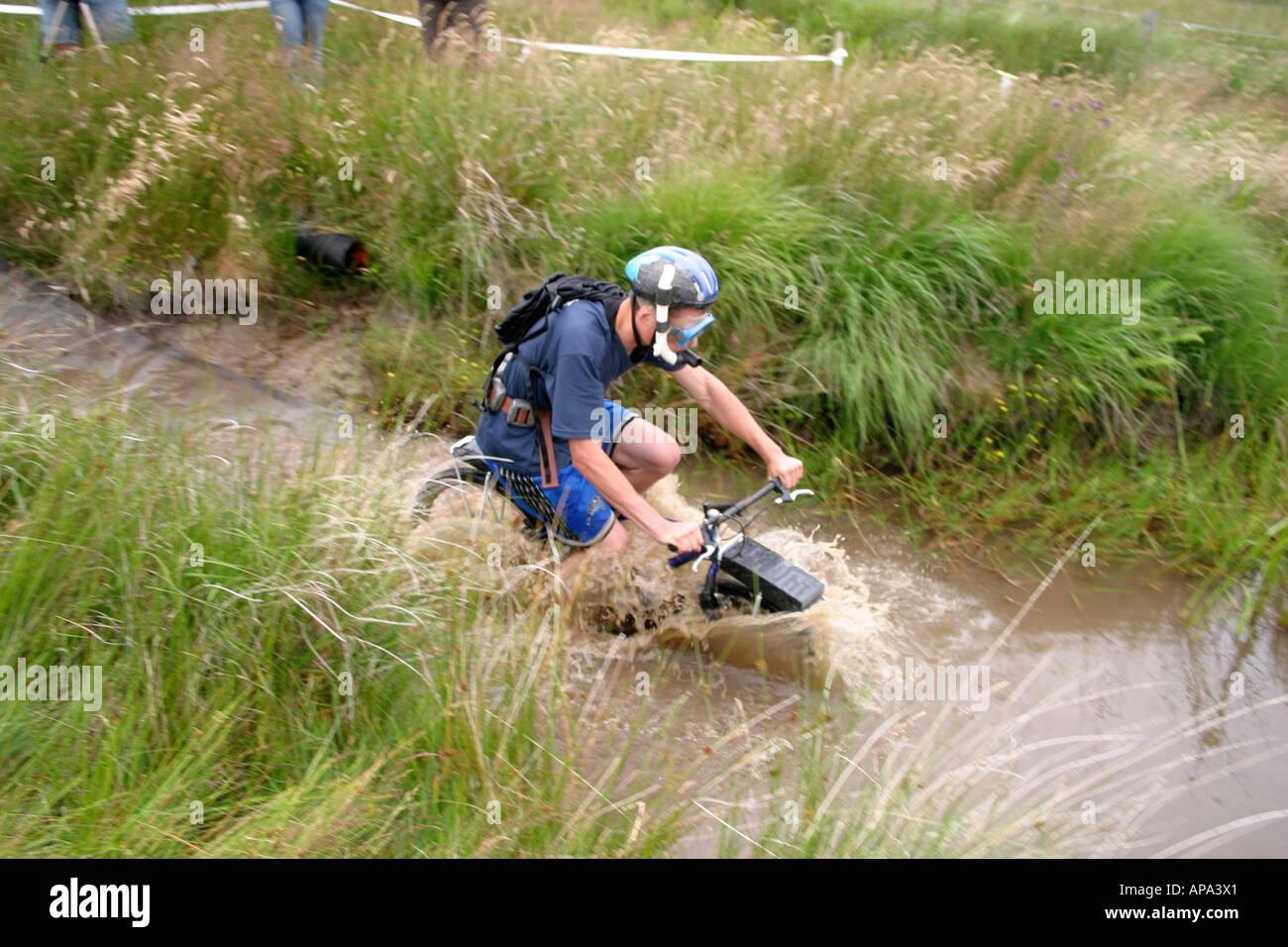 Competitor In World Mountain Bike Bog Snorkeling Championships