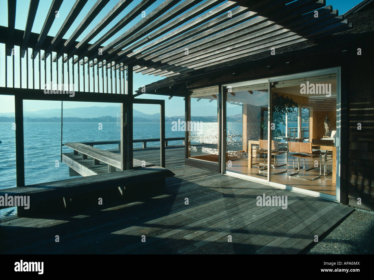 Pergola and decking terrace outside patio doors on modern for Terrace pergola