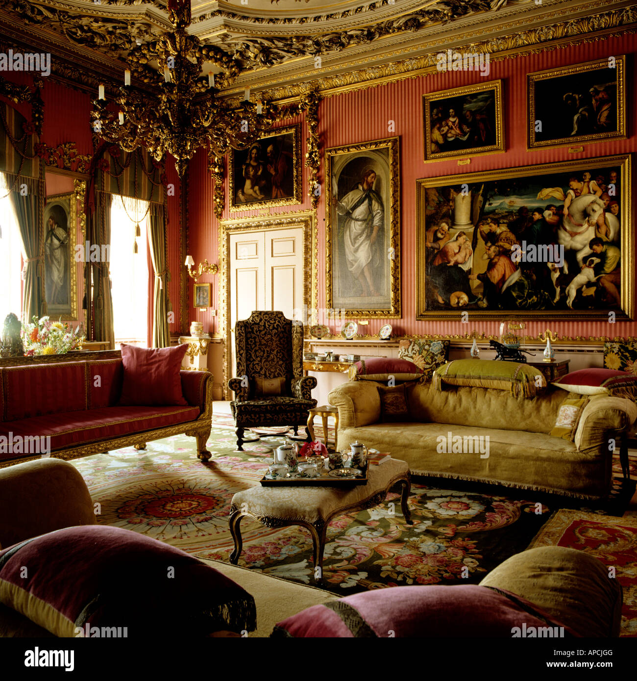 Downton Abbey Floor Plan Drawing Room At Burghley House Stock Photo Royalty Free