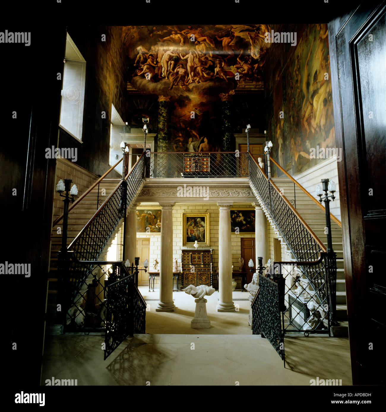 Grand Entrance With Staircase And Colonnaded Hall In English Stately Home    Stock Image Part 55